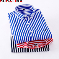 Dudalina זכר רקמת דפוס פסים משובצים קלאסיים עסקי צווארון שרוול ארוך חולצות גברים שמלת חולצה בתוספת גודל M-5xl