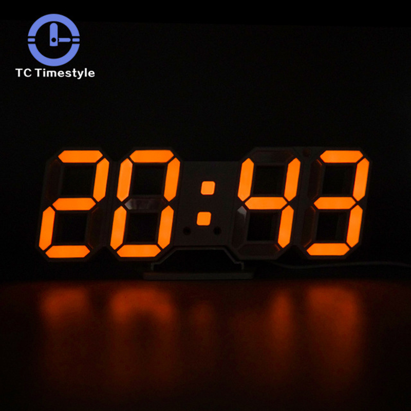 3D LED Wall Clock Modern Digital Alarm Clocks Display Home Kitchen Office Table Desk Night Wall Watch 24 Or 12 Hour Display image