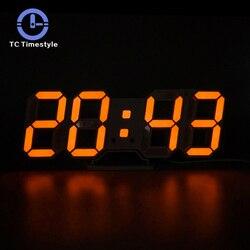3D светодио дный настенные часы Современный цифровой будильник Дисплей домашняя кухня офисный стол Ночной Настенный часы 24 или 12 часов Дисп...