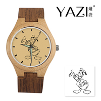 YAZI DIY Wooden Watch Donald Duck Lucky Logo Quartz Watches Natural Bamboo Wood Case Wrist Watches Wood Stripe Band Memory Gift
