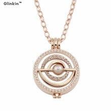 Glinkin Rose Bijoux En Or Ma Pièce avec 33mm Muitl Cercle Disct Coin Moneda 35mm Porte-Monnaie Plus 80 cm Lien Chaîne 1 set
