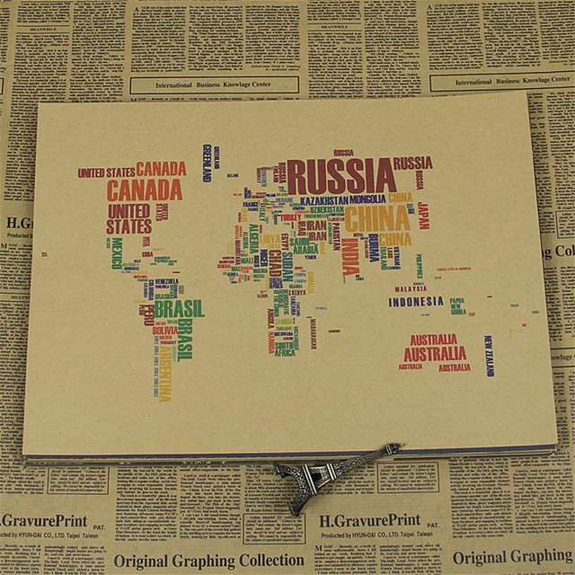 Vintage Creative Art Letter Nation Names World Map Poster Home Decor