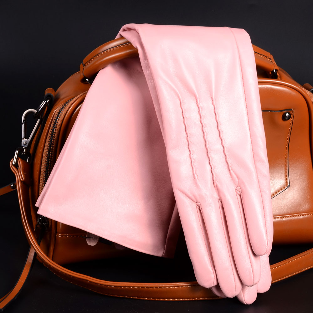 9875bb489 Spring Genuine Leather Pink/Brown 30/40/50CM long Thin Gloves women  Customized