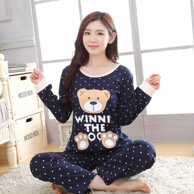 QWEEK Sweet Style Long Sleeve Nightwear For Women Autumn Lovely Princess Pajamas Two Piece XXL Size Cotton Home Clothes Women