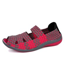 Women Casual Shoes Spring&Summer Flats Fish Mouth Open Toe Shoes Breathable Woven Hollow Pedal Mujer Lazy Shoes Women Sandals