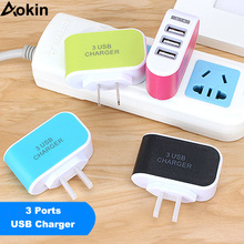 Aokin 5V 3A Multiple 3 Ports Luminous Charger Wall USB Charger EU Plug Adapter Phone Charger for iPhone 8 For Samsung S8 Tablet(China)