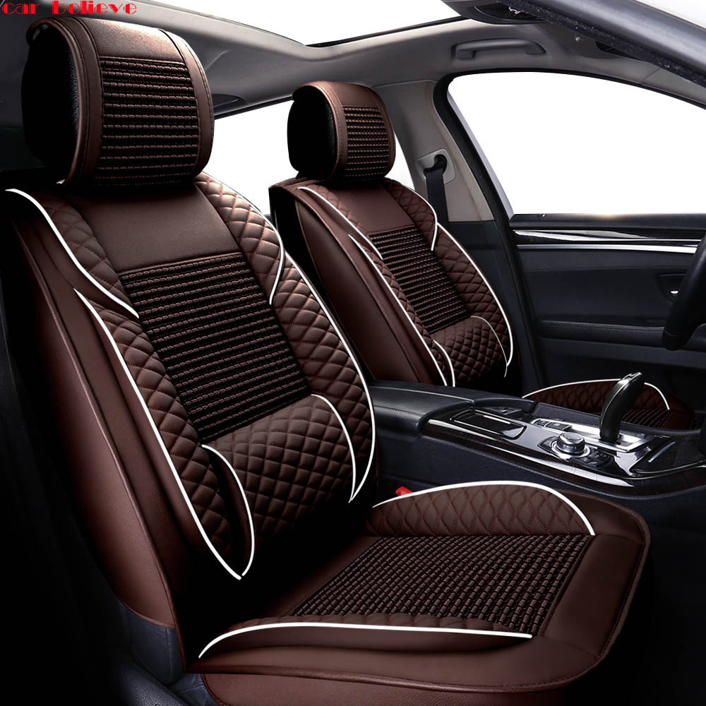 Car Believe leather car seat covers For honda civic 2006-2011 cr-v accord 7 city FIT car accessories seat cover kadulee universal auto car seat cover for honda civic 2006 2011 cr v accord 7 city fit car accessories seat protector styling