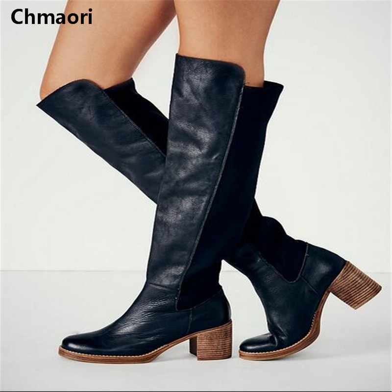 Size 35-42 Fashion Women Knee High Boots Spring Suede Leather Platform Brand Botas Shoes Round Toe Thin High Heels Women Boots women round toe platform over knee boots sexy woman thin high heel shoes fashion cross strap heels long botas size 34 47