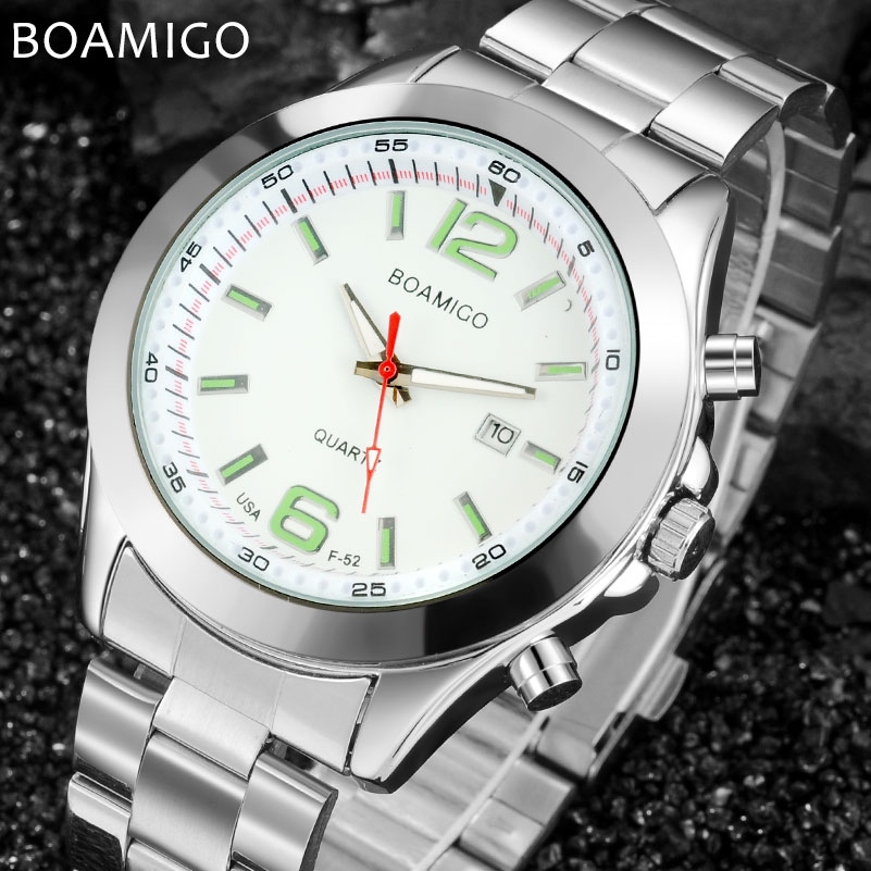 men quartz watch BOAMIGO men watches top brand luxury steel band auto date wristwatches 2017 white gift clock relogio masculino luxury brand t winner self wind mechanical watch men date display watches modern stainless steel band casual men clock gift 2017