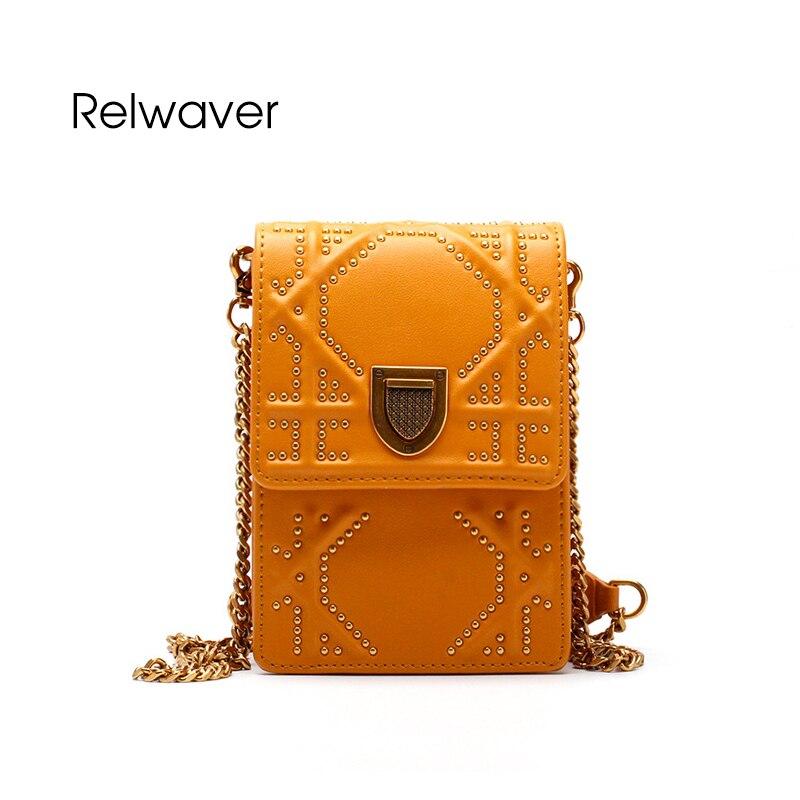 Relwaver rivet flap bag split leather fashion trend messenger bag women brief hard stylish shoulder bag crossbody bags for women chanel boy flap bag