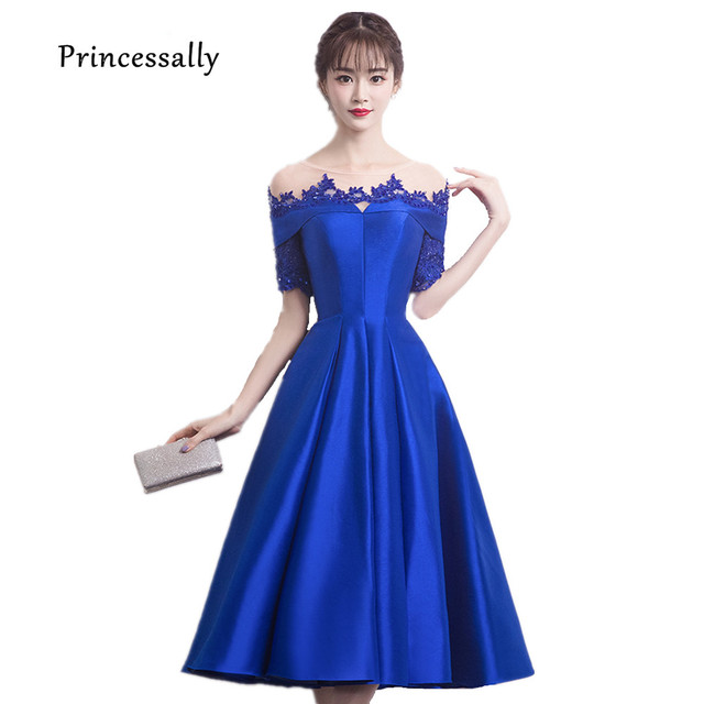 df806d44b4 Robe De Soriee New Royal Blue Satin Evening Dresses Tea-length Beading  Embroidery Half Sleeve Elegant Graduation Prom Party Gown