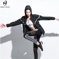 Women Running Jackets Long Sleeve Cotton Hooded Coat Thumb Hole Design Yoga Tops Gym Fitness Loose Sports Clothing