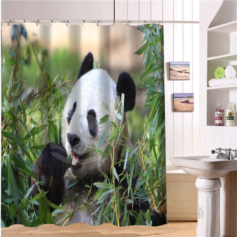 WJY510H31 Custom Panda Bamboo Bear Fabric Modern Shower Curtain Bathroom Waterproof Free Shipping N31 In Curtains From Home Garden On