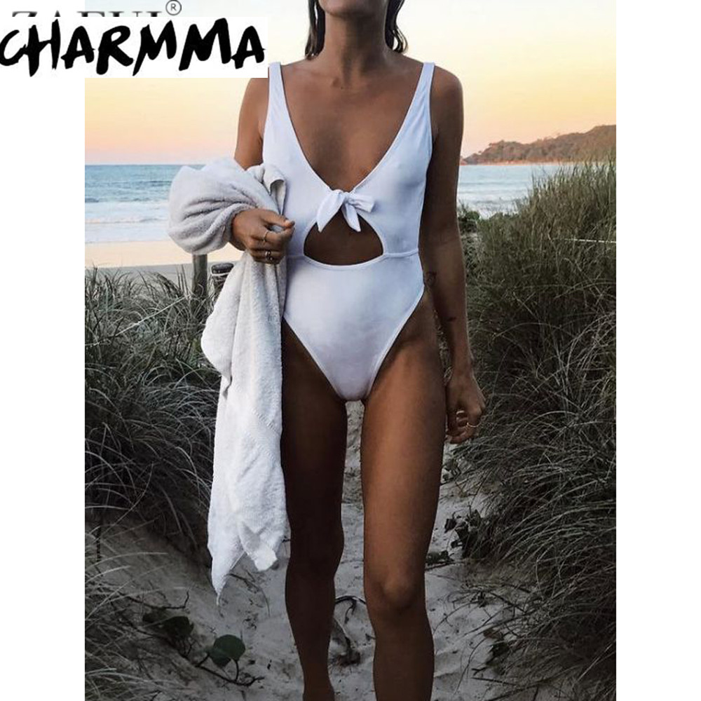 Zaful 2017 One Piece Swimwear Women Sexy High Cut Swimsuit Backless Hollow Out Monokini Bathing Suit Bodysuit Beach Wear new royal blue cross bust halter one piece swimsuit women monokini sexy v neck bandage swimwear hollow out backless beach wear