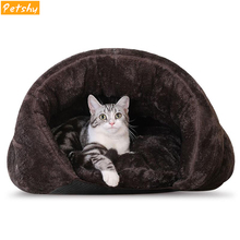 Petshy New Arrival Warm Cat Sleeping Bags Pet Beds Half Cover Winter Nest Kitty House Cats Bed Waterproof Bottom Small Dogs Cave