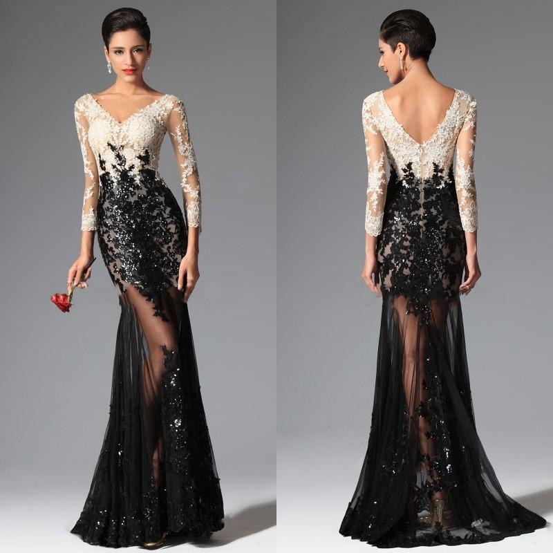 1a7f6d57aa22 Sexy Sheer Lace Evening Dresses Black and White Mermaid 3/4 Sleeves Evening  Prom Dresses V Neck Sequins Lace Prom Gown E030-in Evening Dresses from  Weddings ...
