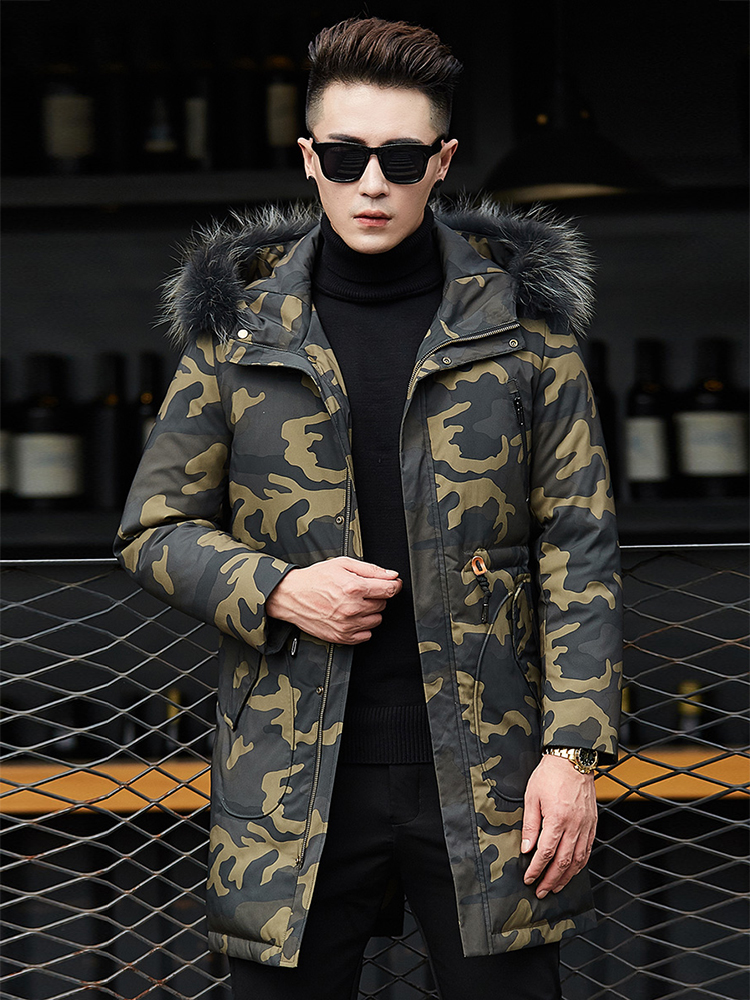 2019   Down     Coat   Men Hooded Winter   Down   Jacket Warm Camouflage   Down   Parka 70%White Duck   Down   Military Long   Coat   Parka Real Fur Men