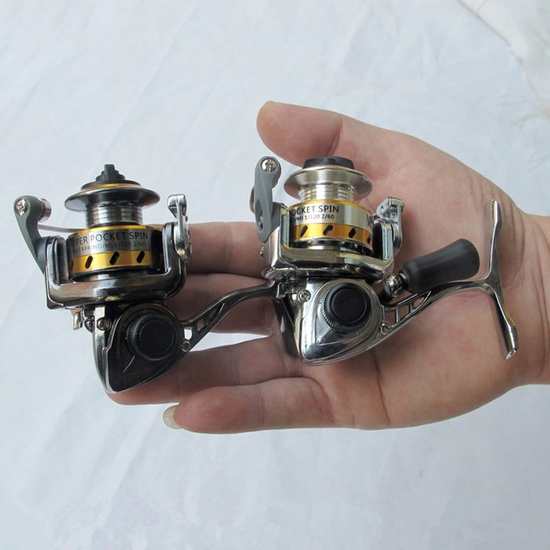 Gratis frakt världen Minsta Full Metal Mini Ice Lure Fiskehjul Winter Spinning Reel