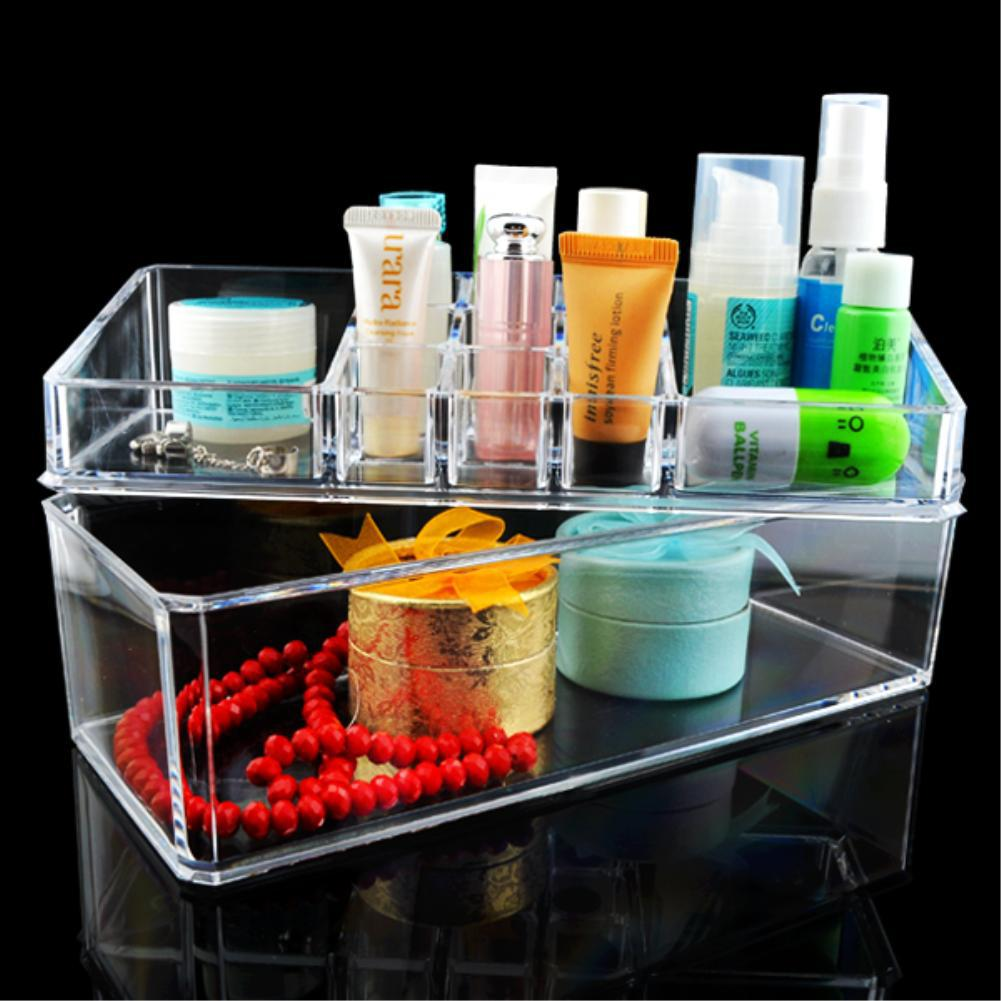 12 Grids Make up Storage Organizer jewelry Box Skin Care Holder Case Trapezoid Transparent Clear Acrylic Double Rack EQC361