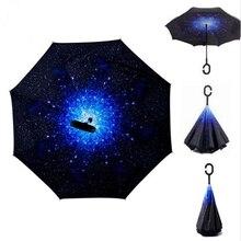 Envío de la gota Estrellado Cielo Anti UV Paraguas Invertido Reverse Doble Capa de Chuva guarda Protección de Auto Soporte de Adentro Hacia Afuera de la Lluvia Soleado