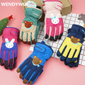 WENDYWU 2017 Winter children's gloves Five fingers waterproof gloves Russia ski gloves plus velvet warm multi-color multi-style