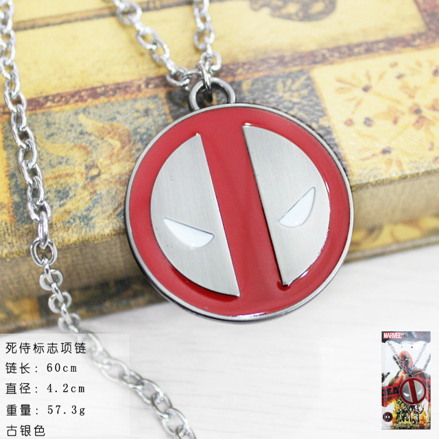 Deadpool Logo Necklace Marvel Comics Alloy Necklace 2 Colour New Styles Metal Necklace Anime Cartoon Jewelry