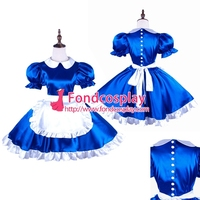 Free Shipping Satin sissy maid dress with Pearl buttons uniform Tailor-made