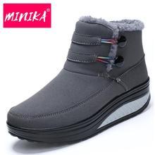 Minika 2017 Зимняя обувь женские сапоги на платформе Утепленная одежда Снегоступы spli на хлопок Женские ботильоны плюс плюшевые Женская обувь