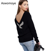 2018 S XL Spring New Fashion Women Sweaters Full Sleeve V Neck Beaded Eagle Diamond Pullovers Computer Knitted Sweater