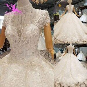 Image 5 - AIJINGYU deuxième mariage robes de mariée robes de Satin plissé balle en ligne mariée à être robe de mariée couleur de la robe