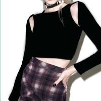 T Shirt Women Shed Velvet Tops Short Design Long sleeve Basic Cutout Strapless Top Harajuku Black Top Long Sleeve Shirt Women