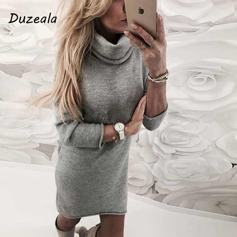 Fashion Lady's Sweater Solid Turtleneck Sweater Long Casual Long Sleeve Pullove Dress Turtleneck Sueteres Vestido Gola Alta