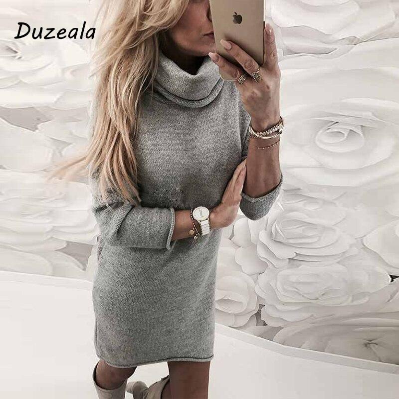 2019 moda senhora camisola sólida gola alta camisola longa casual manga comprida pullove vestido de gola alta