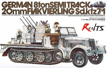 RealTS Tamiya 1/35 35050 German 8ton Semitrack 20mm Flakvierling Sd.kfz7/1 Plastic Model Kit