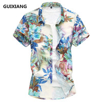 2018 Summer Men S Flowers Short Sleeved Shirts Men Silk And Cotton Male Shirts Brand Clothing