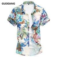 2018 hommes d'été de fleurs chemises à manches courtes hommes Soie et coton Mâle Chemises Marque Vêtements Casual chemise Homme
