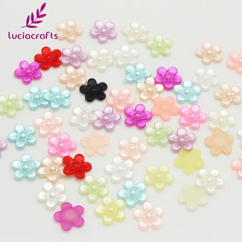 8mm Flower Shaped Cabachons 48pcs Multi colour Scrapbooking Decoration