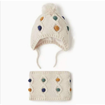 Winter hat scarf set for Baby girls Toddler Infant Baby Girl  Warm Hat Winter Scarf Cap Cute Suit For 1-6 T 2pcs set baby toddler winter set cartoon wool knitting hat scarf warm set infant toddler girls boy knitted keep warm clothes set