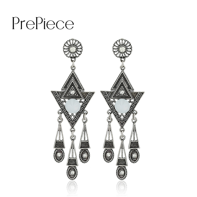 Prepiece metal carved tassel long earrings for women oorbellen prepiece metal carved tassel long earrings for women oorbellen hangers blue stone antique chandelier earrings jewellery mozeypictures Images