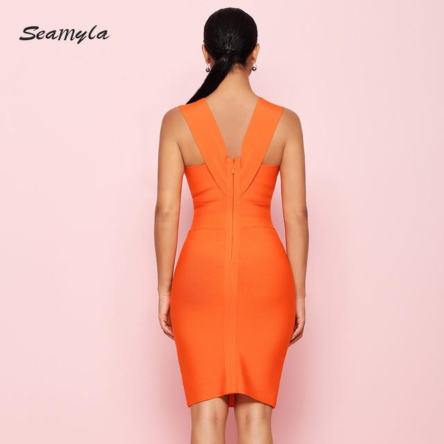 Sexy Dress Club Wear Summer Party Dress New Arrival Sleeveless Orange Women Bandage Dresses Bodycon Vestidos V Neck