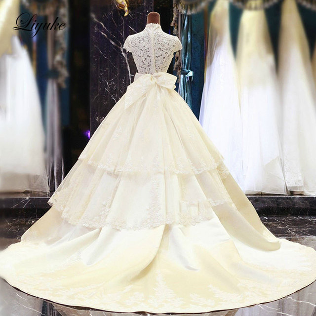 Rous Satin A Line Wedding Dress Luxury Liques Lace High Collar With Back Bow Elegant