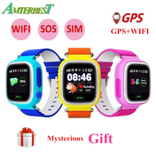 Купить с кэшбэком AMTERBEST Q90 GPS Phone Positioning Smart Watch 1.22 Inch Color Touch Screen SOS WristWatch with SIM Card Slot for Kids Children