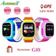 AMTERBEST Q90 GPS Posicionamento Telefone Relógio Inteligente 1.22 Polegada SOS Relógio De Pulso com Slot Para Cartão SIM Ecrã Táctil a Cores para As Crianças crianças