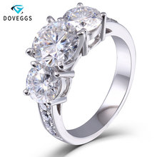 DovEggs 3.1ct Lab Grown Moissanite Diamond Engagement Wedding Ring Genuine 14K 585 White Gold Fine Jewelry for Women недорого