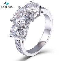 DovEggs 3.1ct Lab Grown Moissanite Diamond Engagement Wedding Ring Genuine 14K 585 White Gold Fine Jewelry for Women