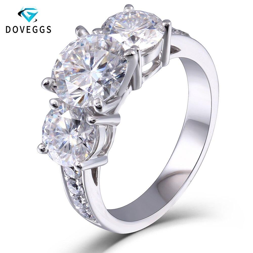 DovEggs 3.1ct Lab a cultivé Moissanite diamant bague de fiançailles de mariage véritable 14 K 585 or blanc bijoux fins pour les femmes