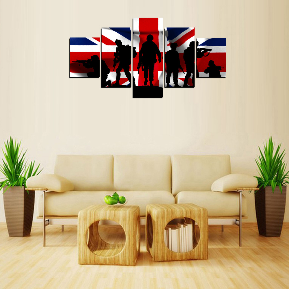 Original Oil Ink 5 Panels Canvas Uk Flag And Army Painting