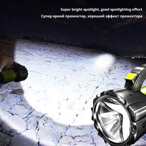 Image 4 - Super Heldere Led Zoeklicht Zaklamp Met Kant Licht 6 Verlichting Modi Aangedreven Door 18650 Batterij Voor Outdoor Camping