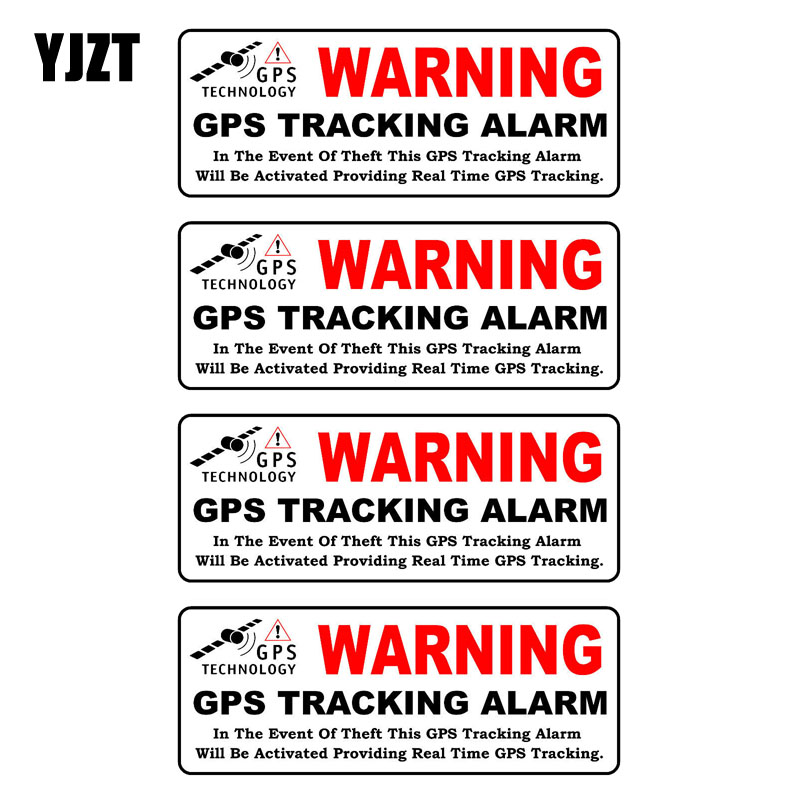 YJZT 10CM*3.9CM 4X Car Sticker WARNING GPS TRACKING ALARM Reflective Personality Decal C1-7582