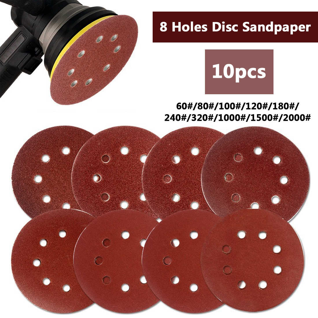"""10pcs 125mm 5 """"וו לולאה מלטש נייר עם 8 חור חול רפידות סט 60Grit-2000Grit סנדר דיסק המירוק עבור פולני מכונת"""